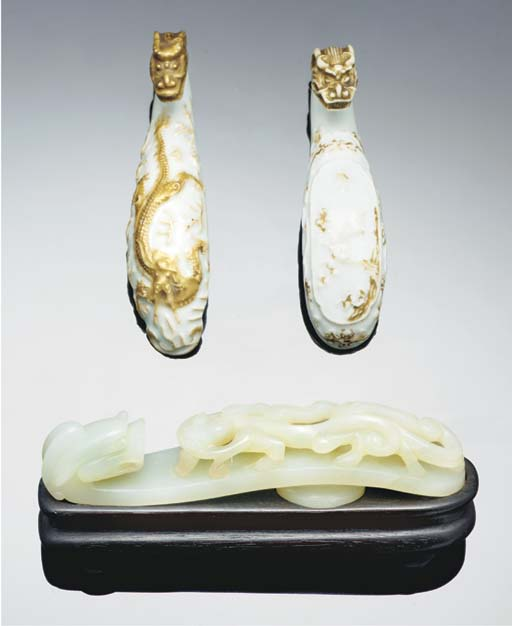 A jade and two porcelain belth