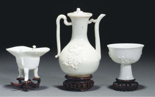 A blanc de chine ewer and cove