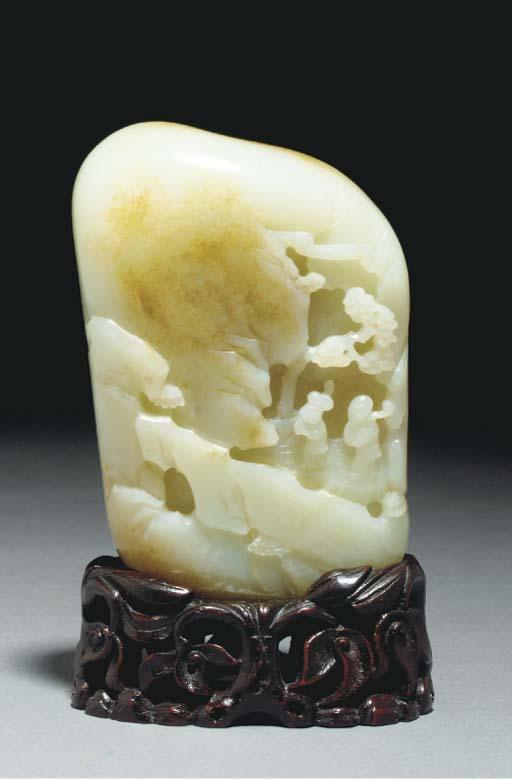 A carved celadon and russet ja