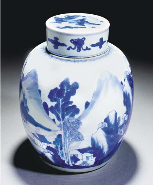 A blue and white ginger jar, K