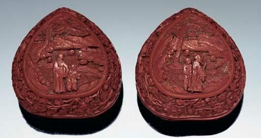 A pair of cinnabar lacquer pea