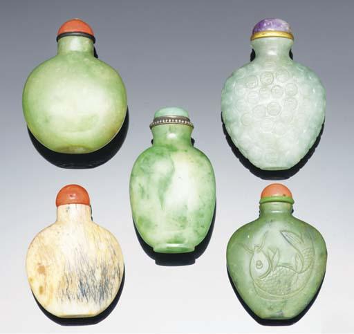 Five jade and jadeite snuff bo
