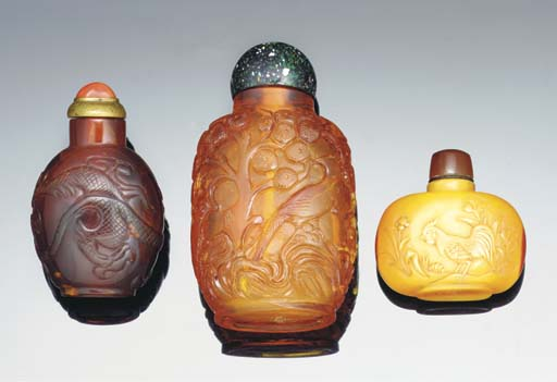An amber carved snuff bottle,