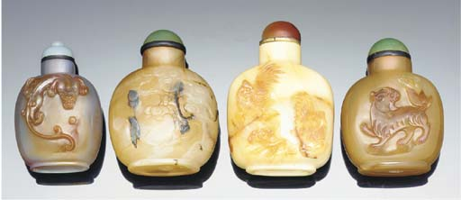 Four carved agate snuff bottle