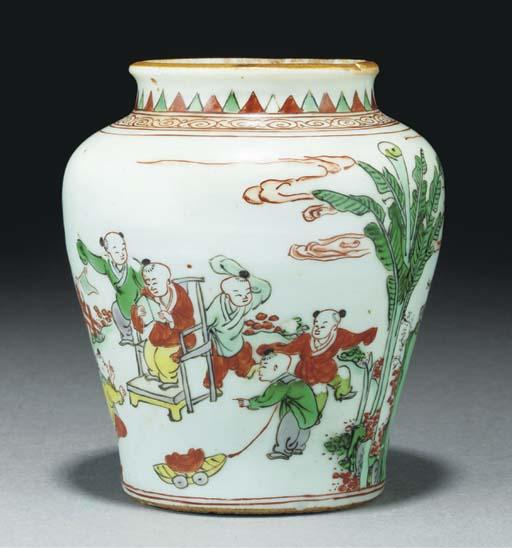 A wucai small baluster jar, Tr
