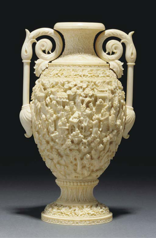 An export Canton ivory urn, 19