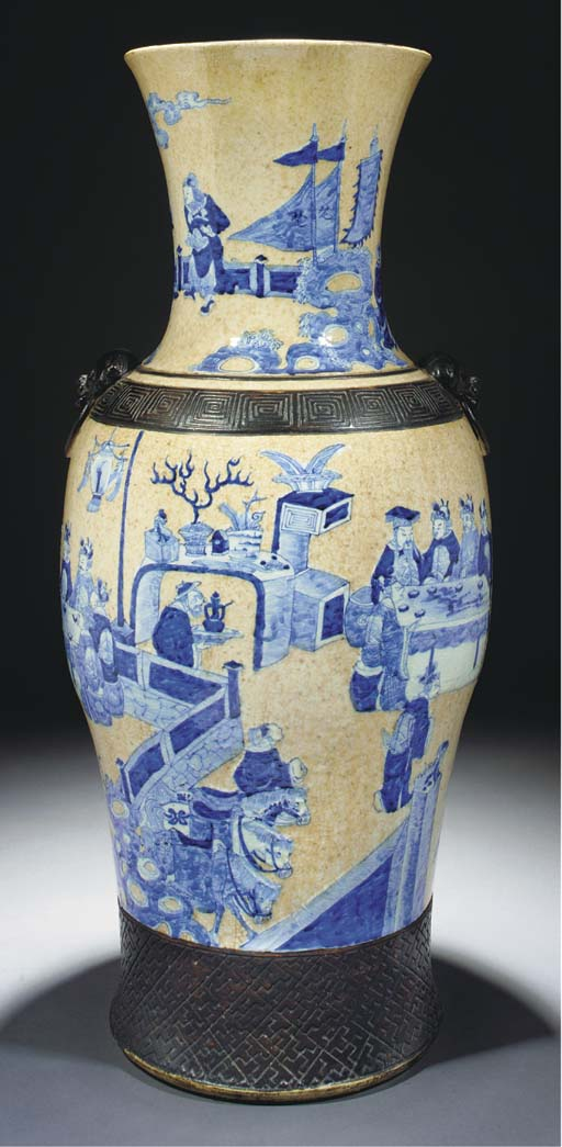 A large crackleware vase, 19th