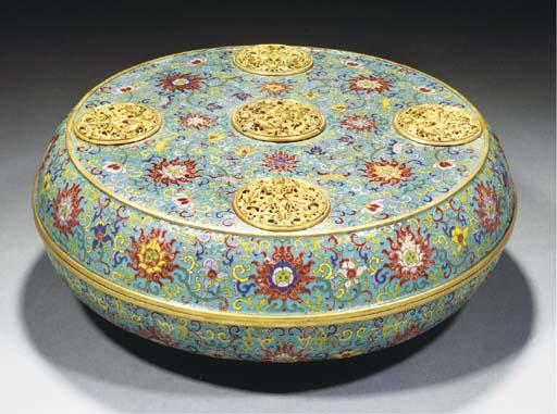 A large circular cloisonne box