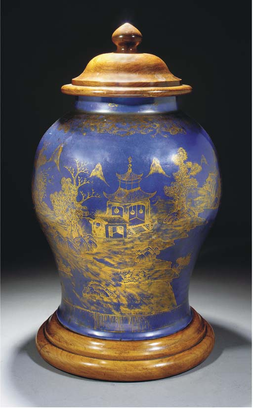 A blue ground blauster jar, 18