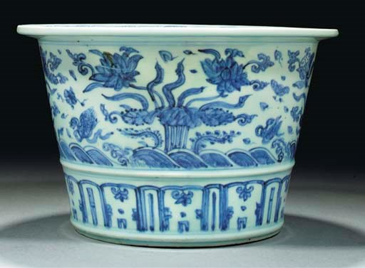 A blue and white jardiniere, M