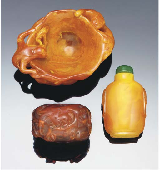 An amber carved waterpot, 18th