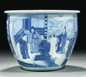 A blue and white planter, Kangxi