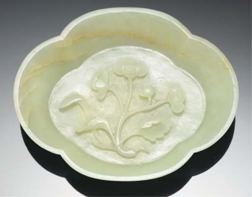 A pale celadon jade dish, 18th