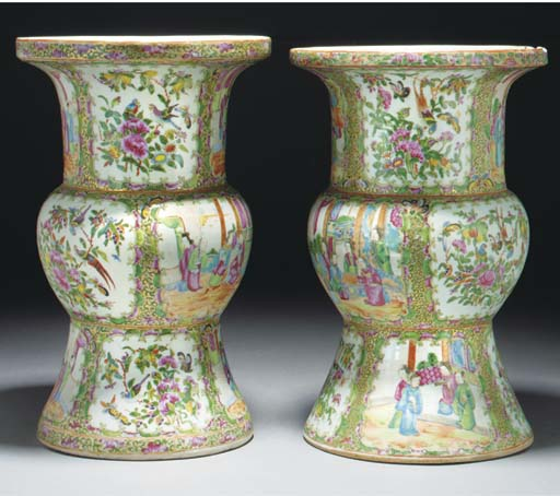 A pair of Cantonese gu vases,