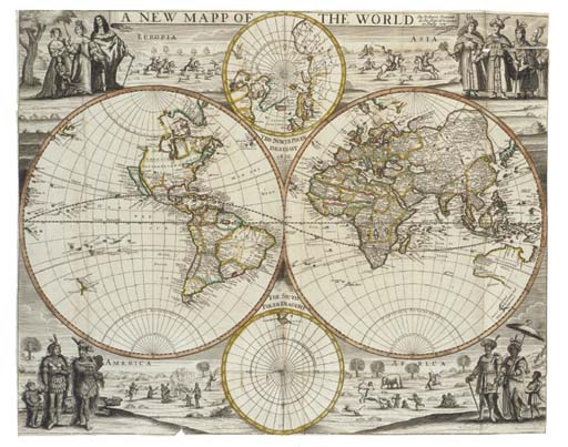 """GREENE, Robert.  A New Mapp of the World, [London:] """"at the Rose & Crowne in Budg Row"""", [1676]. Engraved twin-hemisphere map, hand-coloured in outline. (Trimmed close to engraved frame, shaved at lower sides, a few clean tears, stained on verso.) 432 x 542mm."""
