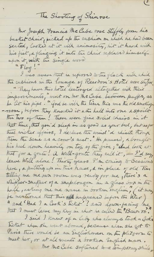 SOMERVILLE, Edith (1858-1949) & Martin ROSS [i.e. Violet MARTIN (1862-1915)]. Original autograph manuscript by Edith Somerville of the short story 'The Shooting of Shinroe', August 1915, in blue ink on lined paper, 24 pages, folio (322 x 200mm), contemporary green half morocco gilt with clover designs stamped in gilt.