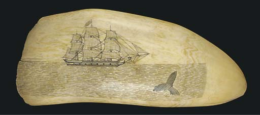 A 19TH-CENTURY SCRIMSHAW-DECORATED WHALE'S TOOTH