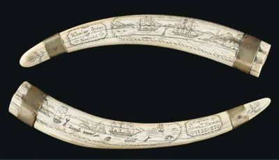 A PAIR OF SCRIMSHAW-DECORATED