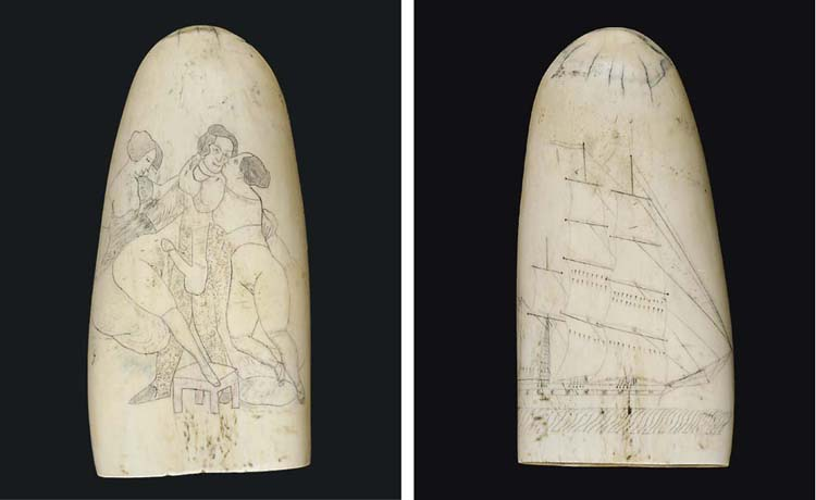 A SCRIMSHAW-DECORATED WHALE'S TOOTH