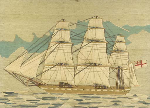 A 19TH-CENTURY SAILOR'S WOOLWORK PICTURE
