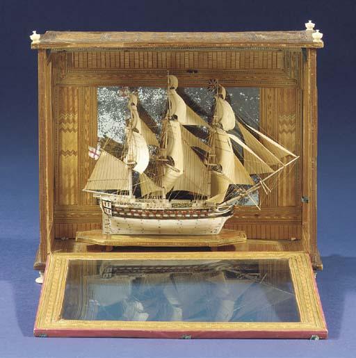 A SMALL EARLY 19th-CENTURY Napoleonic prisoner-of-war bone model OF A 74-GUN SHIP