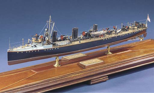 A WELL-PRESENTED AND DETAILED 1:96 SCALE MODEL OF H.M. TURBINE TORPEDO BOAT DESTROYER VELOX (1904)
