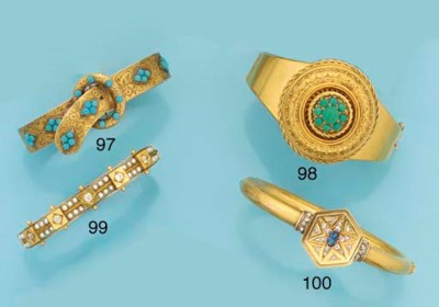 An antique gold and turquoise