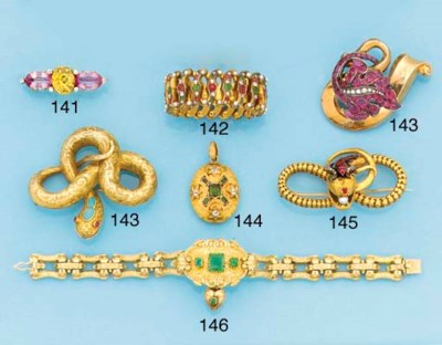A Victorian gold and gem serpe