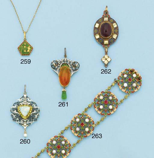 A gold, enamel and gem bracele