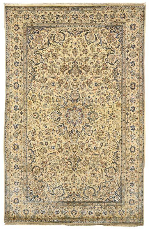 A very fine part silk Nain Tudeshk large rug, Central Persia