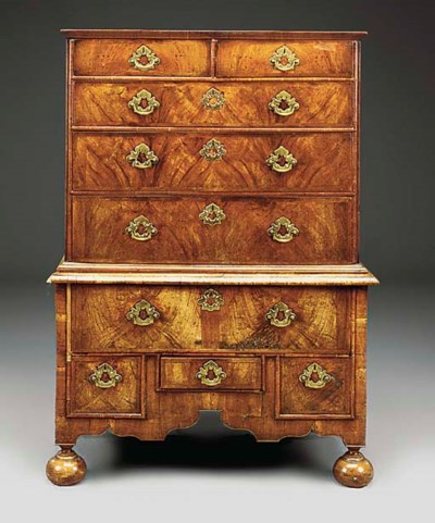 A WILIAM AND MARY WALNUT CHEST