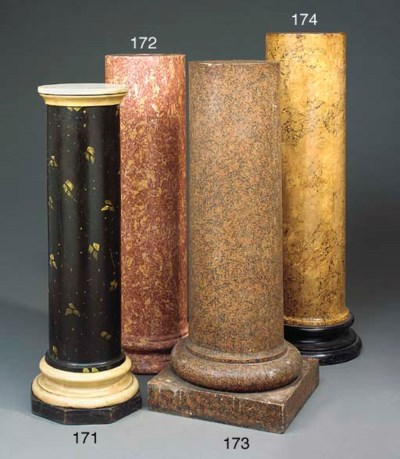 A PAINTED WOOD AND MARBLE COLU
