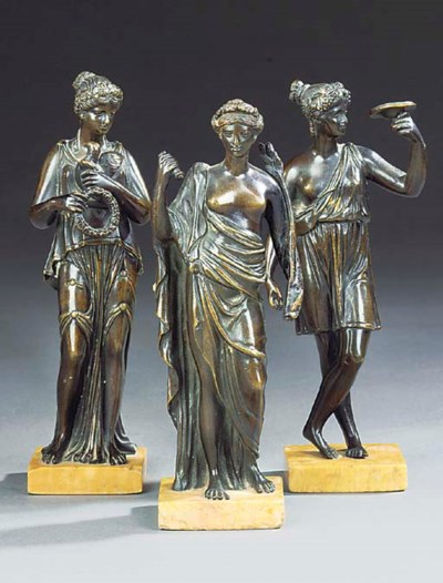 A GROUP OF THREE FRENCH BRONZE