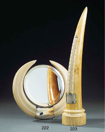 AN IVORY TUSK TABLE THERMOMETE