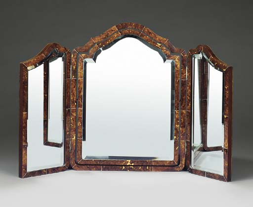 A LATE VICTORIAN OR EDWARDIAN TORTOISESHELL AND IVORY VENEERED DRESSING TABLE MIRROR