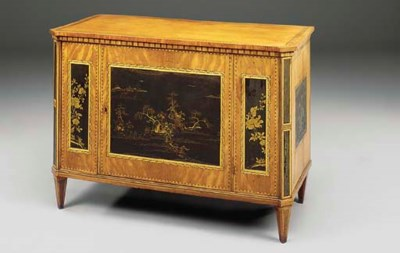A DUTCH SATINWOOD MARQUETRY AN