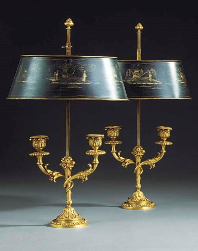 A PAIR OF GILT BRONZE AND TOLE