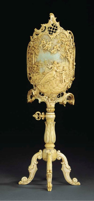 A French carved ivory table sc
