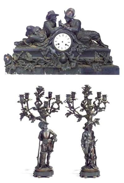 A FRENCH BRONZE MANTEL CLOCK A