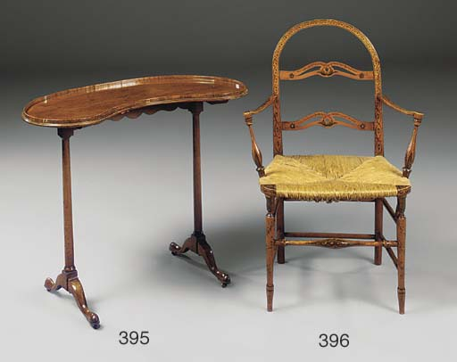 A REGENCY SIMULATED SATINWOOD AND POLYCHROME DECORATED ARMCHAIR