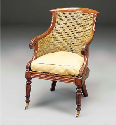A LATE REGENCY CANED LIBRARY B