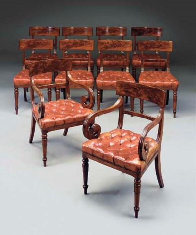 A SET OF TEN MAHOGANY AND RED