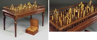 A FRENCH OAK BAGATELLE TABLE