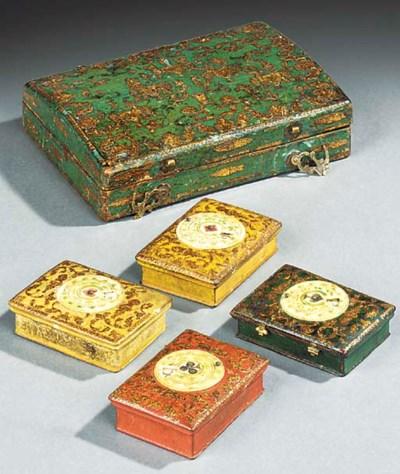 A cased set of Louis XV bone g