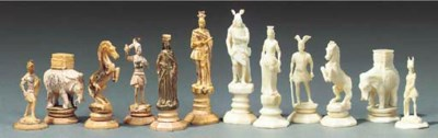 An Erbach ivory figural chess