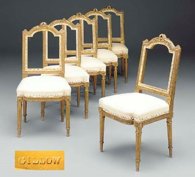 A SET OF SIX GILTWOOD CHAIRS