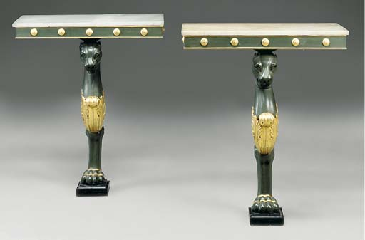 A PAIR OF GREEN PAINTED AND PARCEL GILT CONSOLE TABLES