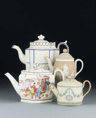 Four English teapots and cover