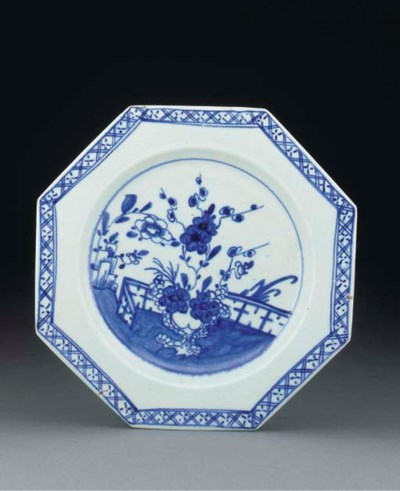 A Bow blue and white octagonal