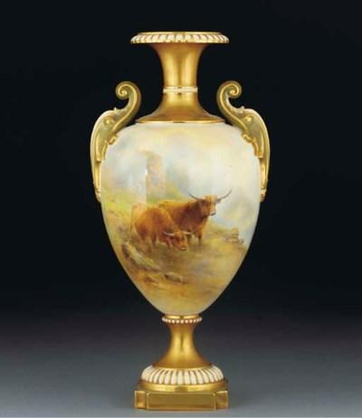 A Royal Worcester oviform vase